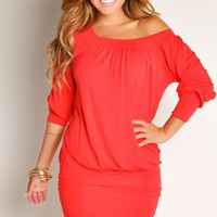 Plain Holiday Red Tunic Round Neck Long Sleeves Club Dresses