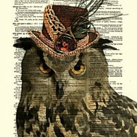 Steampunk Owl Dictionary Print, Owl Art, Owl in Top Hat, Dictionary Art Print