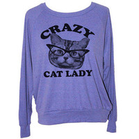 Skip N' Whistle: Cat Lady Sweatshirt Women's Prpl, at 31% off!