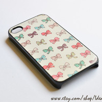 Cute Pattern Case , Ribbon Pattern , Cute Bow , iphone 4s case , iphone 5 case , Yellow Background with Bow