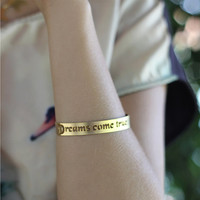 Gold Charm Cuff Bracelet - Dreams come true