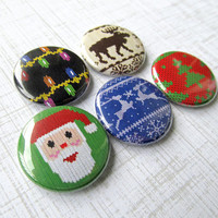 Ugly Christmas Sweater Pinback Buttons Set of 5 Funny Holiday Party Decoration Pins Moose Reindeer Santa