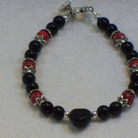 Gemstone heart bracelet--multiple colors available