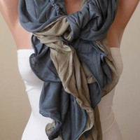 New - Ruffle Scarf - Gray and Light Brown Ruffle Scarf - Combed Cotton