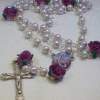 Lavender Our Lady of Fatima rosary