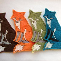 Iron on Patch Set of 4 Fox Appliques