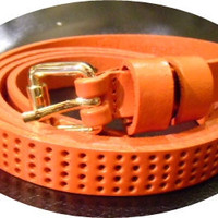 orange hole punched thin leather fashion belt