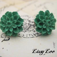 Teal Mum Earrings  on Luulla
