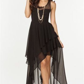 A'GACI Sweetheart Mesh Hi Lo Dress - DRESSES