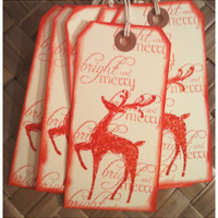 SIX Hand Inked Stamped Rudolph Reindeer Red Glitter Bright and Merry Retro Classic Large Manila Handmade Holiday Gift Tags