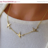 Black Friday Sale Golden Bird Trio Necklace Flying Swallows Three Birds In Flight Jewelry