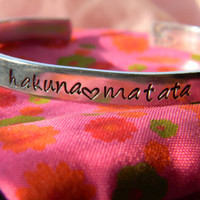 Hakuna Matata aluminum bracelet 1/4 inch wide