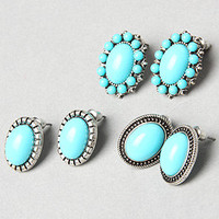 The Turquoise Stud Earring Set