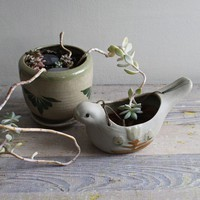Vintage Hanging Pottery Planter by ethanollie on Etsy