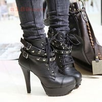 Women&#x27;s Fashion Stiletto High Heel Rivets Cool Lace Up Platform Sexy Shoes Pump