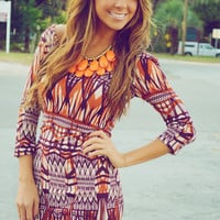 Lost In The Desert Dress: Orange/Purple | Hope's