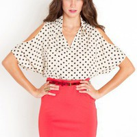 Spotted Shoulder Blouse - NASTY GAL