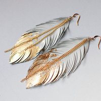 Feather Earrings - Leather Feather Jewelry - Dipped in Gold - Ivory White Leather