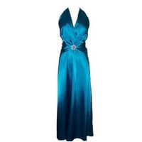 A-line Halter Sleeveless Floor-length Satin Bridesmaid Dress With Beading Free Shipping