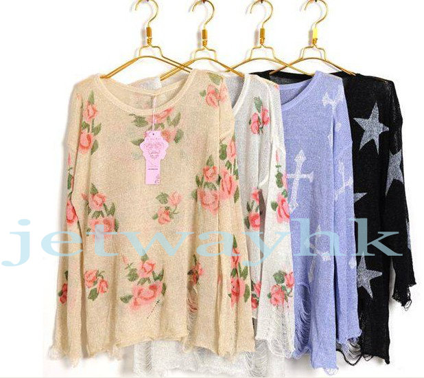 Oversized Gothic Cross Floral Distressed Frayed Jumper Hole Knitwear Sweater