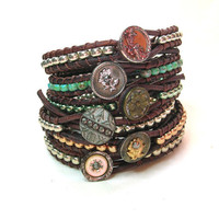 Boho leather wrap bracelet, Skinnies, Bohemian jewelry, gypsy chic, OOAK silver stack bracelet, antique Victorian button