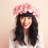 floral crown headband hair wreath - pink, romantic statement headpiece, large flower crown, oversized.