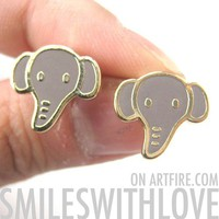 SALE Simple Cute Elephant Animal Stud Earrings in Grey on Gold