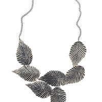 Leafing Town Necklace in Silver | Mod Retro Vintage Necklaces | ModCloth.com