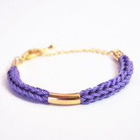 Violet cotton cord bracelet with gold tube, knit bracelet, stacking bracelet