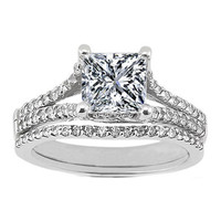Engagement Ring - Princess Diamond Engagement Ring Trellis Split Band with pave Round Diamonds 0.42 tcw. In 14K White Gold & Matching Wedding Band - ES469PRBS