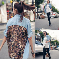 Retro Vintage Fashion Leopard Women Top S Button Shirt Blouse Denim Chiffon Tops