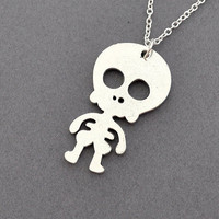 skeleton necklace, cute necklace, silver skeleton,Sugar Skull Necklace, Pirate Necklace, cute skeleton necklace, steampunk