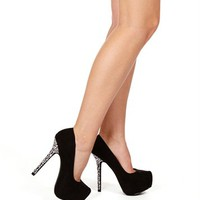 Black Rhinestone Heel Pump