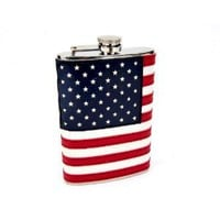 8oz Stitched American Flag Flask: Amazon.com: Kitchen & Dining