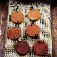Urban Misfit Society ? Natural Misfitted Wood 3 Disc Earrings