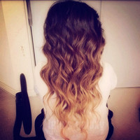 R U S T I C   auburn brunette /22 inch long/ ombre hair/ human hair extensions/ clip-in hair wefts/  FULL SET/  hilights/ hair extensions