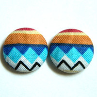 Button Earrings Tribal African Multicolor Colorful