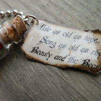 "Beauty And The Beast ""Tale As Old As Time"" Tag and Glass Bottle With Rose Necklace"