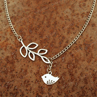 Vintage bird necklace with leaves pendant- Vintage charm bird necklace