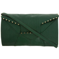 Green staple edge clutch bag - New In Accessories - What's New - Dorothy Perkins