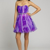 Short Dresses - Ombre Strapless Party Dress with Tie Back from Camille La Vie and Group USA