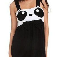 Black And White Button Strap Panda Dress - 728801