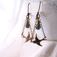Little Birds Victorian style chandelier goth earrings