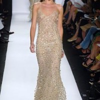 OSCAR DE LA RENTA Formal GOLD SEQUIN+TULLE Gown Dress 4 on eBay!
