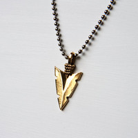 Gold Arrowhead Necklace, Warrior Spear on Silver Chain