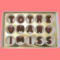 To The Man I Miss Large Milk Chocolate Letters-Long Distance Gift for Him-Made to Order