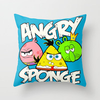 Angry Spongebird - Angry Birds vs SpongeBob Throw Pillow by Olechka | Society6