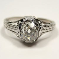 1900 Edwardian period  Original 1.01ct Old Mine Cushion cut  GIA VS2  Diamond Engagement ring in Platinum
