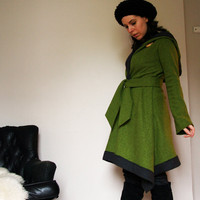 womens hooded cloak in boiled wool