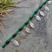 Green Hemp Bracelet or Anklet  Leaf Charms  by KnottyandNiceHemp